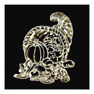 Happy Thanksgiving Elegant Golden Cornucopia Card