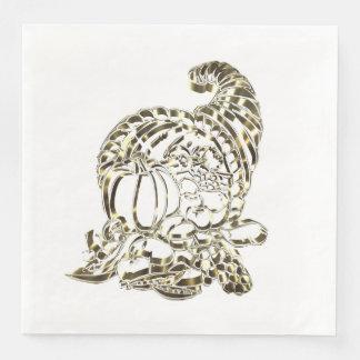 Happy Thanksgiving Elegant Golden Cornucopia Disposable Napkins