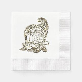 Happy Thanksgiving Elegant Golden Cornucopia Paper Napkin