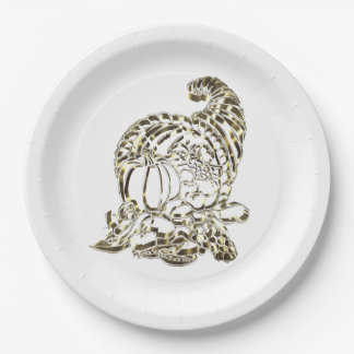 Happy Thanksgiving Elegant Golden Cornucopia Paper Plate