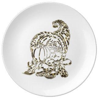 Happy Thanksgiving Elegant Golden Cornucopia Plate