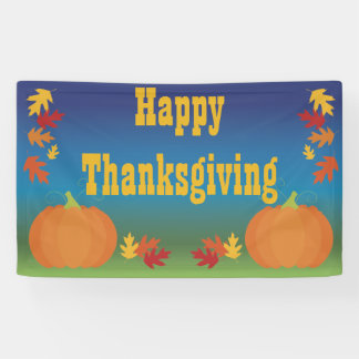 Happy Thanksgiving Fall Leaves and Pumpkins Banner