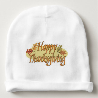 Happy Thanksgiving Fall Leaves Baby Beanie