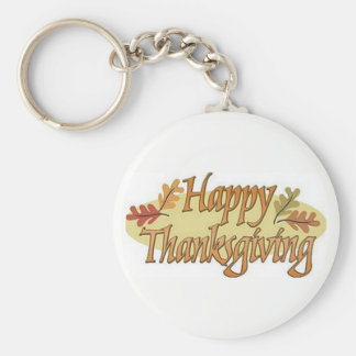 Happy Thanksgiving Fall Leaves Keychain