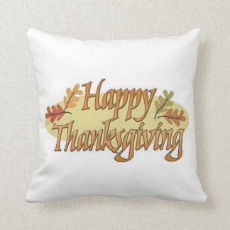 Happy Thanksgiving Fall Leaves Throw Pillow
