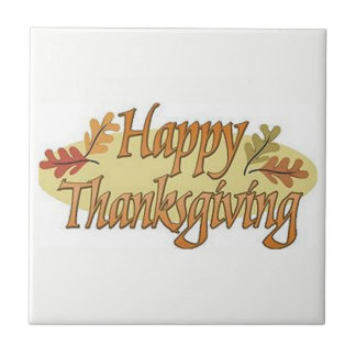 Happy Thanksgiving Fall Leaves Tile