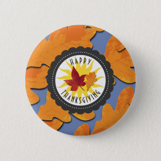 Happy Thanksgiving Fall Oak Leaf 2 Inch Round Button
