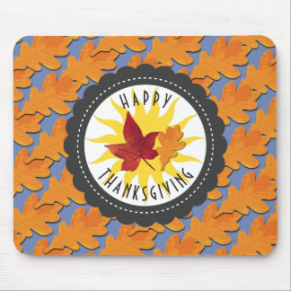 Happy Thanksgiving Fall Oak Leaf Mouse Pad