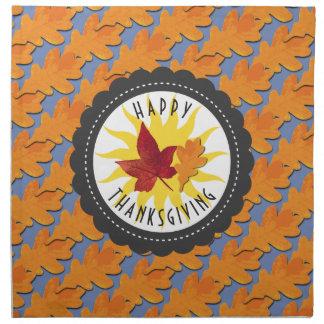 Happy Thanksgiving Fall Oak Leaf Napkin