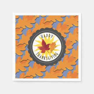 Happy Thanksgiving Fall Oak Leaf Paper Napkin