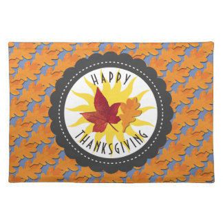 Happy Thanksgiving Fall Oak Leaf Placemat