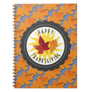 Happy Thanksgiving Fall Oak Leaf Spiral Notebook