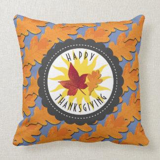 Happy Thanksgiving Fall Oak Leaf Throw Pillow