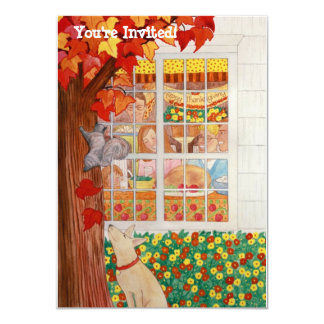 Happy Thanksgiving Family Meal Scene 4.5x6.25 Paper Invitation Card