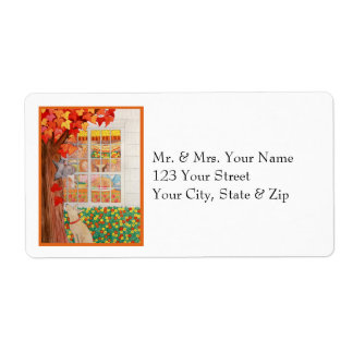 Happy Thanksgiving Family Meal Scene Shipping Label