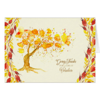 Happy Thanksgiving for Volunteer Autumn Tree Card