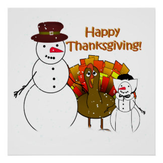 Happy Thanksgiving from Snowy Pilgrims Print