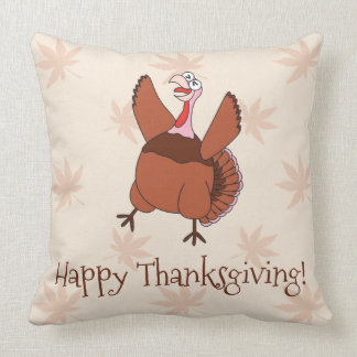 Happy Thanksgiving Funny Turkey Throw Pillow
