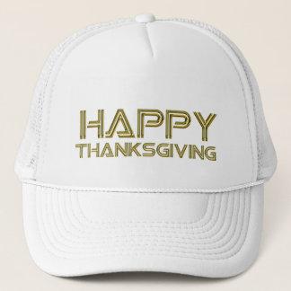 Happy Thanksgiving Gold Typography White Elegant Trucker Hat
