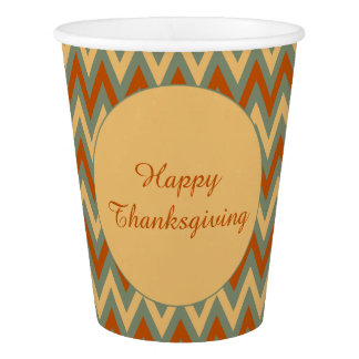 Happy Thanksgiving Green Red and Yellow Chevron Paper Cup