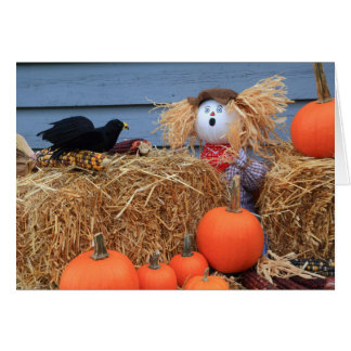 Happy Thanksgiving Greeting Card Scarecrow surpris
