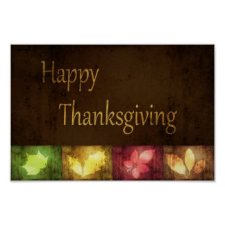 Happy Thanksgiving Grunge Leaves - Poster Print