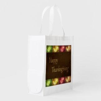 Happy Thanksgiving Grunge Leaves - Reusable Bag Market Tote