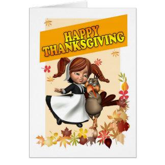 Happy Thanksgiving Little Pilgrim Girl Card