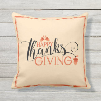 Happy Thanksgiving Modern Black & Red Typography Outdoor Pillow