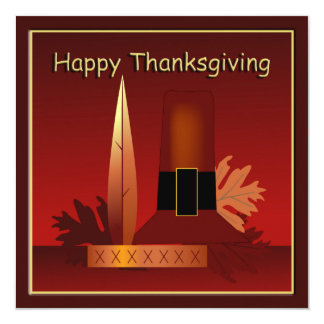 "Happy Thanksgiving Modern Pilgrim & Indian Card 5.25"" Square Invitation Card"