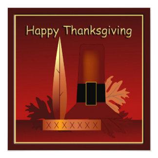 "Happy Thanksgiving Modern Pilgrim & Indian Card 5.25"" Square Invitation Card"