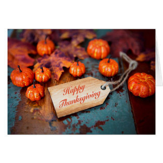 """""""Happy Thanksgiving"""" on wooden day Card"""