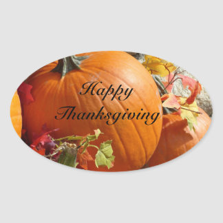 Happy Thanksgiving Oval Pumpkin Stickers