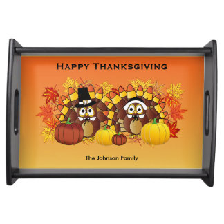 Happy Thanksgiving Owl Turkey Pilgrims Serving Tray