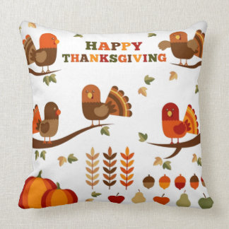 Happy Thanksgiving Pattern Throw Pillow