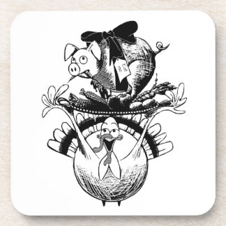 Happy Thanksgiving Pig and Turkey Coaster