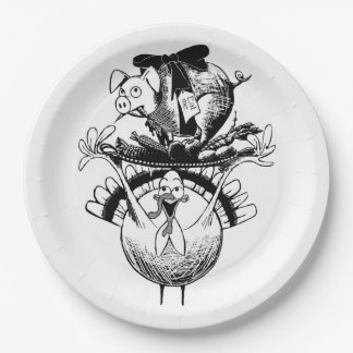 Happy Thanksgiving Pig and Turkey Paper Plate