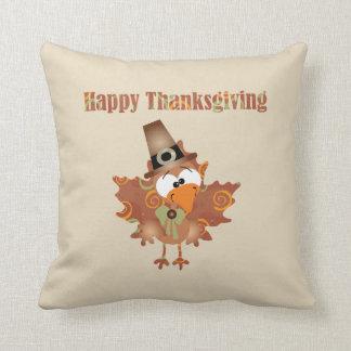 Happy Thanksgiving Pillow with cute pilgrim turkey