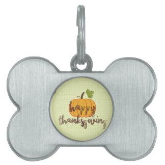 Happy Thanksgiving pumpkin Pet ID Tags