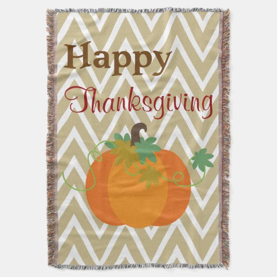 Happy Thanksgiving Pumpkin Throw Blanket