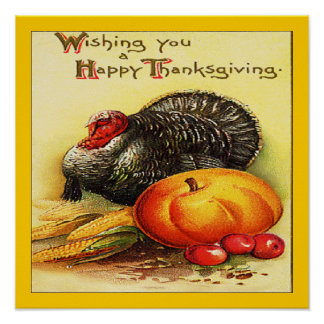 Happy Thanksgiving Pumpkin Turkey Print