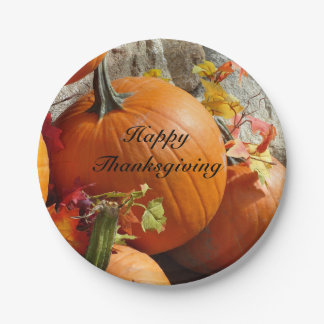 Happy Thanksgiving Pumpkins Paper Plate