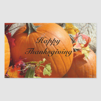 Happy Thanksgiving Rectangle Pumpkin Stickers
