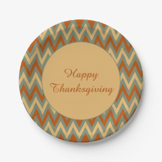 Happy Thanksgiving Red Green and Yellow Chevron Paper Plate