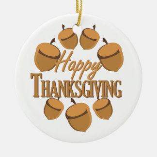 Happy Thanksgiving Round Ceramic Ornament