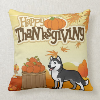 Happy Thanksgiving Siberian Husky Throw Pillow