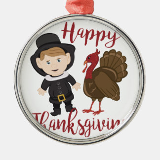 Happy Thanksgiving Silver-Colored Round Ornament