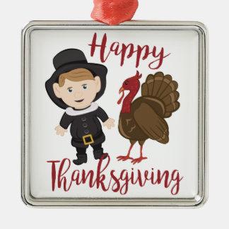 Happy Thanksgiving Silver-Colored Square Ornament
