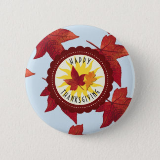Happy Thanksgiving Sky and Fall Leaves 2 Inch Round Button