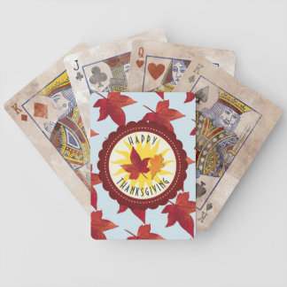 Happy Thanksgiving Sky and Fall Leaves Bicycle Playing Cards